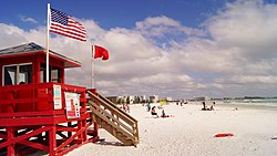 Red Lifeguard Stand at Siesta Key Beach