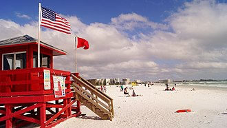 Siesta Key, Florida - Red Lifeguard Stand at Siesta Key Beach
