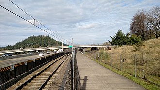 MAX Red Line - The single-track segment seen along I-205 in 2018