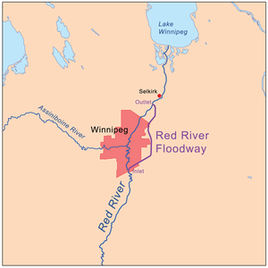 1997 Red River flood - Red River Floodway near Winnipeg
