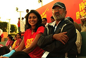 Reeth Abraham - Reeth Abraham with her coach Beedu.