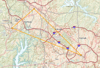 Research Triangle - A map of Research Triangle, North Carolina, featuring the locations of North Carolina State University, Duke University, and The University of North Carolina at Chapel Hill