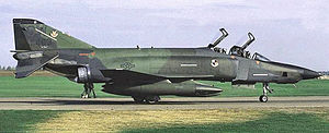 "16th Airborne Command and Control Squadron - McDonnell RF-4C-34-MC Phantom II AF Serial No. 67-0436 of the 16th Tactical Reconnaissance Squadron - October 1986. Note the NATO European camouflage schema, ""SW"" tail code and low visibility USAF markings. This was one of the last RF-4Cs flown by the 363d TFW before their retirement in 1989."