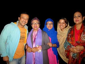 Riaz (actor) - Riaz, Shuchanda, Bobita, Tina and Champa at Cox's Bazar in 2014