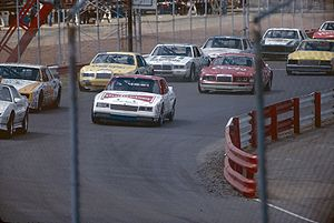Richmond Raceway - NASCAR Cup racecars before the start on the 1/2 mile configuration in September, 1984