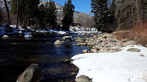 Roaring Fork River - The Roaring Fork in winter as seen from a backyard in Woody Creek, Colorado.