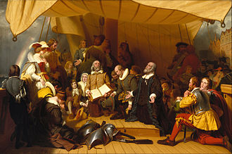 Pilgrims (Plymouth Colony) - The Embarkation of the Pilgrims (1857) by American painter Robert Walter Weir at the United States Capitol in Washington, DC