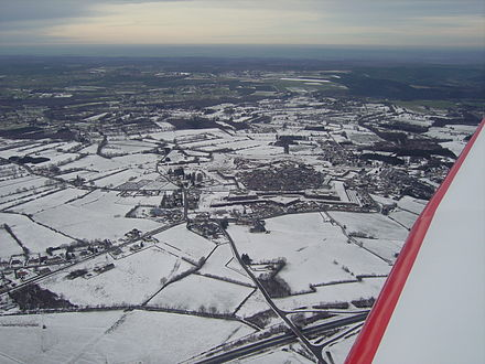 Rocroi in the snow: a common situation in winter in the northern Ardennes department. Rocroi neige.JPG