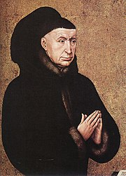 Painting detail of a man in black with hands folded in prayer