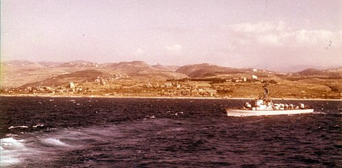 The Israeli Navy missile boat INS Romach off the coast of Lebanon, August 1982. Romach4.5Leb91982.jpg