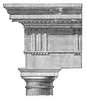Taenia (architecture) - Horizontal taenia pictured as a shadow under the cymatium (to either side of the gutta) in the Roman Doric order at the Theater of Marcellus