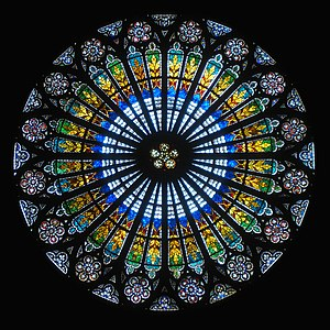 Rose window - Interior of the rose at Strasbourg Cathedral