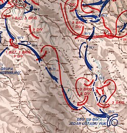 map showing the ground assault by two German reconnaissance regiments