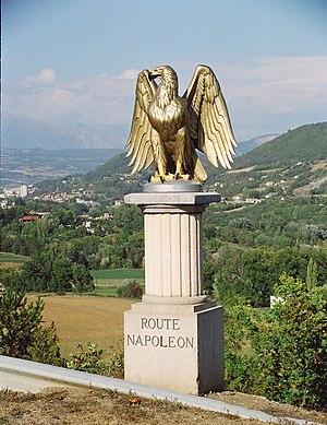 Route Napoléon - Gilded eagle marker along the Route Napoléon, on the southern approach to Gap, Hautes-Alpes
