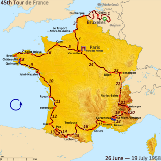 1958 Tour de France - Route of the 1958 Tour de France followed clockwise, starting in Brussels and finishing in Paris