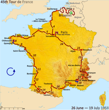 Route of the 1958 Tour de France Followed clockwise, starting in Brussels and finishing in Paris