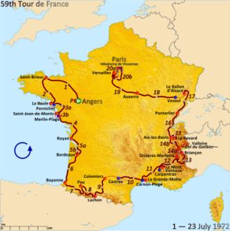 1972 Tour de France - Route of the 1972 Tour de France
