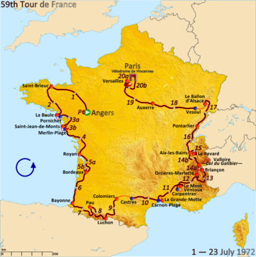 Map of France with the route of the 1972 Tour de France
