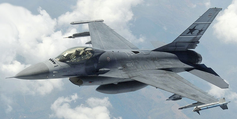 Royal Thai Air Force F-16 descends after being refueled by a KC-135.jpg