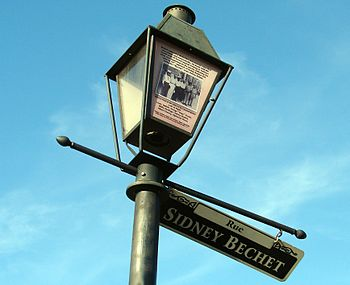 Street post and sign honoring Sidney Bechet, A...