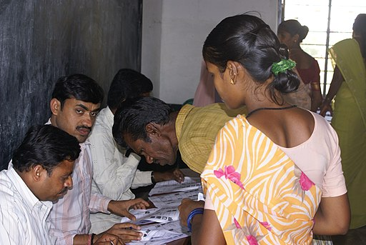 Rural polling station in Bangalore, 2009