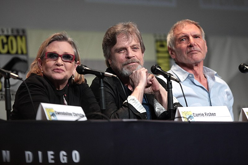 SDCC 2015 - Carrie Fisher, Mark Hamill %26 Harrison Ford (19060574883).jpg