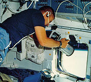 STS-51-B Overmyer with camera