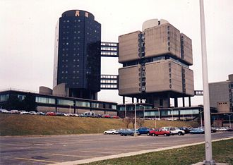 Stony Brook University Hospital - Hospital (L) and the Clinical Sciences Tower, not pictured is the Basic Sciences Health Tower back in the 1990s