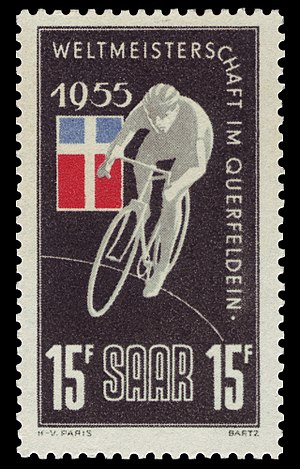 UCI Cyclo-cross World Championships - Stamp of the event in 1955 (Saarland)