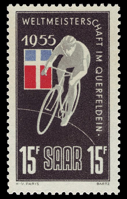 Stamp of the event in 1955 (Saarland) Saar 1955 357 Radweltmeisterschaft.jpg