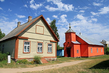 A Russian Old Believer village with a church on Piirissaar island Saare kula Piirissaar.JPG