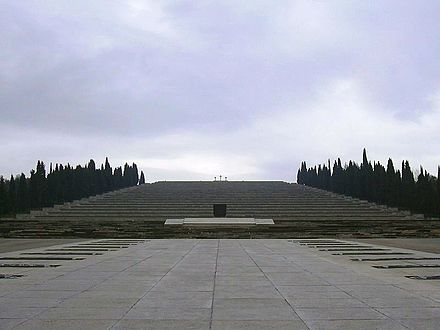 The Redipuglia War Memorial (Italy), the resting place of approximately 100,000 Italian soldiers dead in battles of the First World War Sacrario Militare di Redipuglia.jpg
