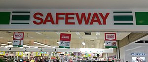 Woolworths Supermarkets - Former Safeway sign at Pacific Epping Shopping Centre in Epping, Victoria