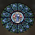 Saint Benedict's Parish (Chesapeake, Virginia) - stained glass, St. Benedict rose window.jpg