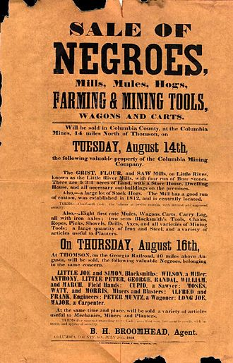 Slavery - A poster for a slave auction in  Georgia, U.S., 1860