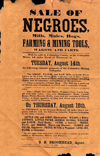 A poster for a slave auction in Georgia, U.S., 1860 Sale of negroes 1860.jpg