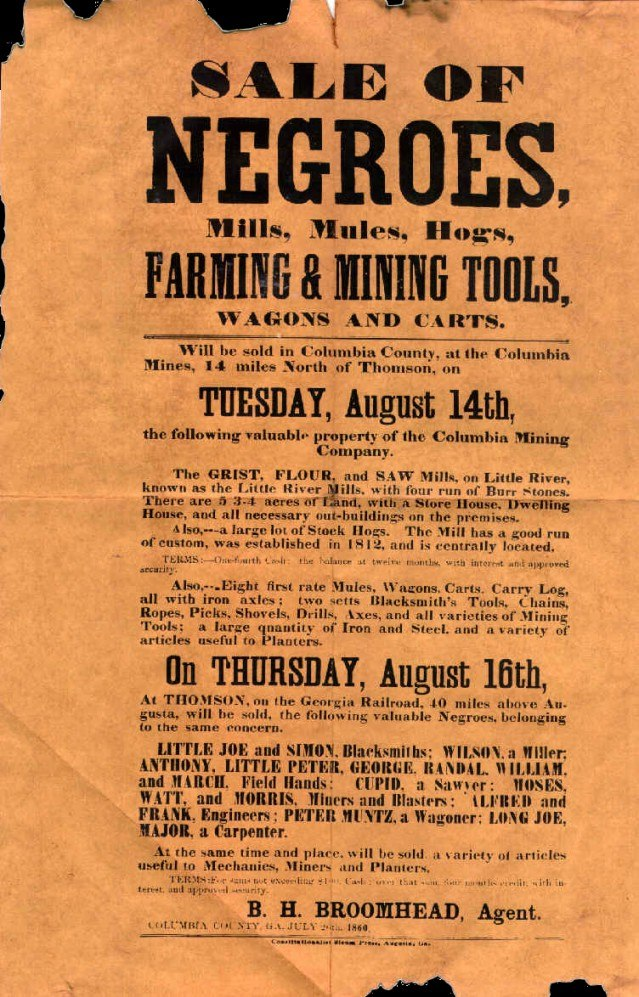Sale of negroes 1860
