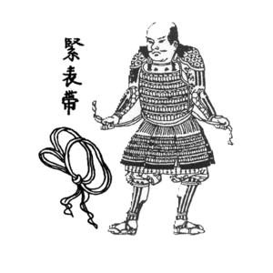 Uwa-obi - Japanese Edo period woodblock print of a samurai wearing an uwa-obi