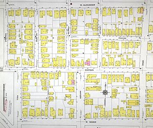 Pemberton Place - 1911 Sanborn Fire Map of all but the westernmost section of what is today Pemberton Place, bounded by Baker, Luckie, Ivan Allen (Alexander), and Centennial Olympic Park Drive (Orme)