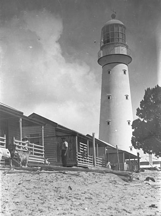 Sandy Cape Light - The lighthouse and the original keepers' cottages.