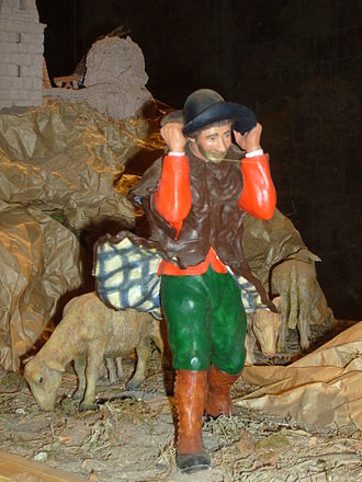 Mistral (wind) - A traditional Provençal santon, or Christmas creche figure, from Arles, facing the mistral