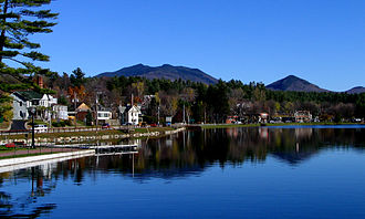 Saranac Lake, New York - Lake Flower, from Riverside Park