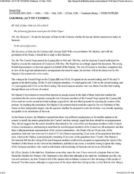 File:Sarawak (Act of Cession - Hansard, 22 May 1946).djvu