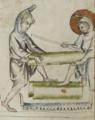 Sbs-0008 026r Jesus zieht mit dem Knecht das Brett auf die richtigen Masse zurecht.TIF