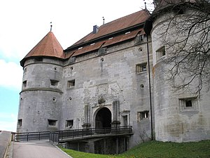 Hellenstein Castle - Northern main gate flanked by round towers
