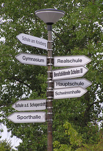 Education in Germany - Sign of different coexisting school types on a school complex in Germany