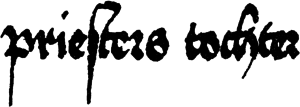 "S - Late medieval German script (Swabian bastarda, dated 1496) illustrating the use of long and round s: prieſters tochter (""priest's daughter"")."