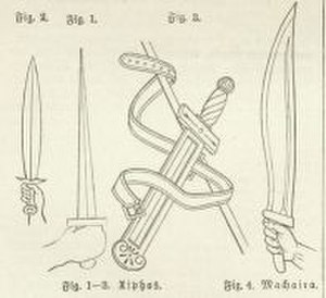 Makhaira - Antique swords, fig. 1-3: Xiphos, fig. 4: Makhaira.
