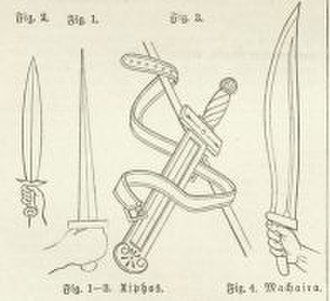 Makhaira - Antique swords, fig. 1-3: Xiphos, fig. 4: Makhaira.