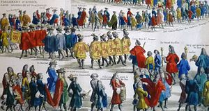 Scottish heraldry - Scottish heralds and the Lord Lyon, from an 18thC French illustration of an opening of the Scottish parliament